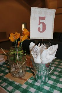 """Table numbers for """"backyard"""" party theme"""