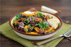 Roasted Fall Vegetable Salad with Maple Orange Cinnamon Dressing