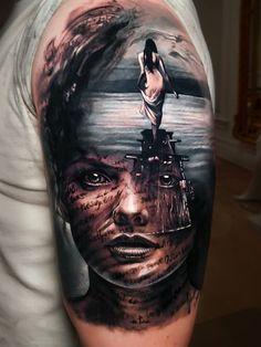Girl and lake tattoo by Arlo DiCristina Great Tattoos, Sexy Tattoos, Body Art Tattoos, Girl Tattoos, Sleeve Tattoos, Tattoos For Guys, Beautiful Tattoos, Tattoo Ink, Maori Tattoos