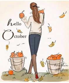 Hello October, Happy October, Happy Sunday, Good Morning Picture, Morning Pictures, Women Quotes Images, Autumn Illustration, Hello Weekend, Bible Verse Art