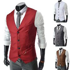 Fashion Mens Formal Vest Men Casual Waistcoat Dress Vests Jackets XS S M L Black