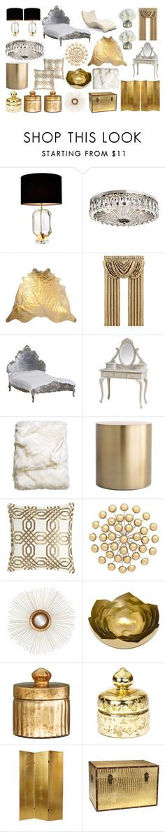 """Old Hollywood Bedroom"" by rs-scott ❤ liked on Polyvore featuring interior, interiors, interior design, home, home decor, interior decorating, Eichholtz, Schonbek, J. Queen New York and H&M"