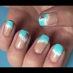 1) use nude/tan nail polish 2) slightly outline where you want the water to end with white nail polish 3) dip the end of a small sponge in while nail polish then dab around (its okay if it goes over the line) 4) do the same with a very light blue but let some white show [starfish optional]
