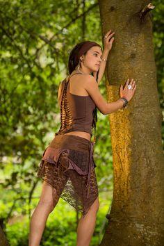 Pixie Pocket Skirt (Brown) - Fairy Elf Sexy Hippie Boho Goa Festival Pixie Gypsy Bohemian Skirt
