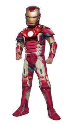 "Avengers Deluxe Iron Man Kids Costume - Genius and hero Tony Stark is Marvel comics Iron Man. This is his updated armour from Marvels ""Avengers: Age of Ultron"". It's a one piece jumpsuit with attached armour, and boot tops. It also comes with a hard plastic half mask with attached elastic to hold it on. #ironman #avengers #superhero #calgary #yyc #children #costume"