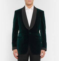 Kingsman - Green Slim-Fit Silk Faille-Trimmed Velvet Tuxedo Jacket. Designed exclusively for MR PORTER. Kingsman's latest offering of refined British-made tailoring is inspired by the blockbuster spy film of the same name. Crafted in England from exquisite forest-green velvet, this fully canvassed tuxedo jacket is accented with silk-faille details, giving it an unquestionable elegance.
