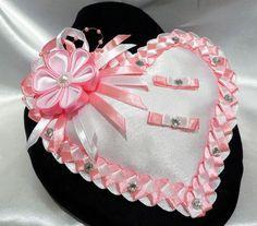 Flower Blossom Tsumami Kanzashi wedding set: ring pillow, hair pins, groom boutonniere, bridal garter, bridesmaids bracelets