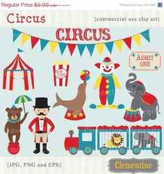 30% off sale - Circus clip art images,  circus clipart, circus vector, royalty free clip art-- Instant Download