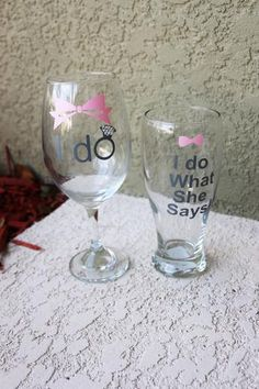 Wine glasses Monogrammed Glasses, Wedding Groom, Best Part Of Me, Party Supplies, Party Favors, Champagne, Wine, Birthday, Tableware
