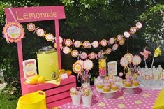 Amazing display at a pink lemonade and sunshine birthday party! See more party ideas at CatchMyParty.com!