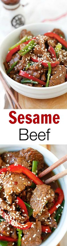 Sesame Beef – the easiest and crazy delicious beef stir-fry. Tender and juicy with a killer soy sesame brown sugar sauce. So good you'll want seconds | rasamalaysia.com