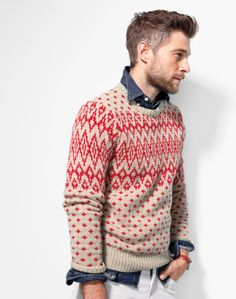 How you do winter sweaters like a man. J.Crew Nordic Diamond Sweater.