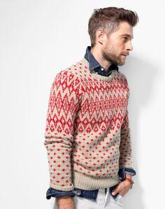 How you do winter sweaters like a man. J.Crew Nordic Diamond Sweater.