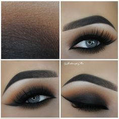 matte #black #smokey_eye blended into warm brown / caramel   dark + dramatic evening / night-out #makeup @makeupbyan