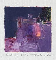 Oct. 10, 2015 - Original Abstract Oil Painting - 9x9 painting (9 x 9 cm - app. 4 x 4 inch) with 8 x 10 inch mat