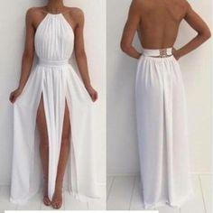 White long prom dresses, A-line rou..