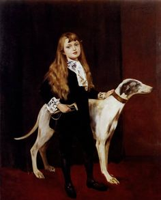 Young Girl With A Greyhound, Ferry Beraton. Austrian (1860 - 1900)