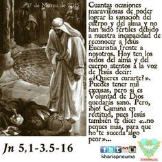 """Del Santo Evangelio según SanJuan 5,1-16  """"En un día de fiesta para los judíos, cuando Jesús subió a Jerusalén. Hay en Jerusalén, junto a la puerta de las ovejas, una piscina llamada Betesda, en hebreo, con cinco pórticos, bajo las cuales yacía una multitud de enfermos, ciegos, cojos y paralíticos, que esperaban la agitación del agua. Por que el ángel del Señor descendía de vez en cuando a la piscina, agitaba el agua y, el primero que entraba en la piscina, después de que el agua se…"""