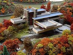 Miniature replica of Frank Lloyd Wright's 1935 Fallingwater house at MRRV, Carnegie Science Center in Pittsburgh