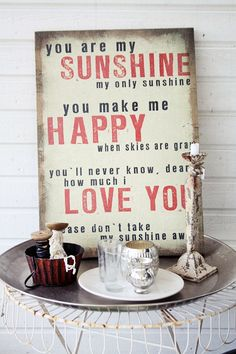 Canvastavla Happy .. -  La Finesse You Are My Sunshine, Are You Happy, Me Quotes, Red And White, My Love, How To Make, Inspiration, Products, Biblical Inspiration
