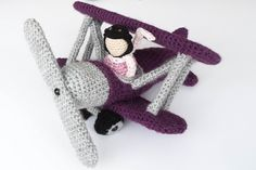 amazing old-fashioned biplane in crochet