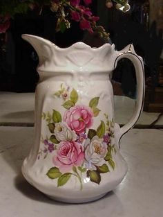 James Kent Old Foley Harmony Rose English Milk Pitcher