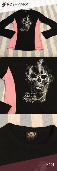 Skull Laconia shirt Skull 93rd annual Laconia motorcycle week 2016 long sleeve black and pink shirt brand-new never worn Tops Tees - Long Sleeve