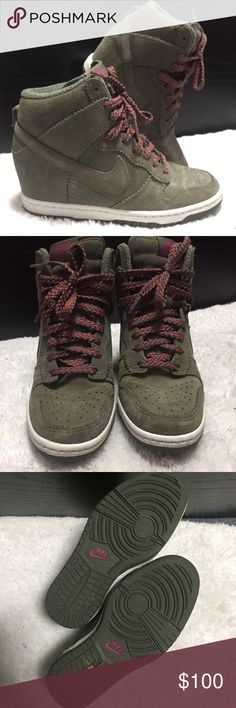 """Nike Dunks Sky Hi Nike Dunks Sky Hi with 3"""" hidden wedge. Comes with box and extra set of shoelaces. Olive suede/ rubber sole. Nike Shoes Sneakers"""