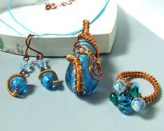 Blue sea wire wrapped collection