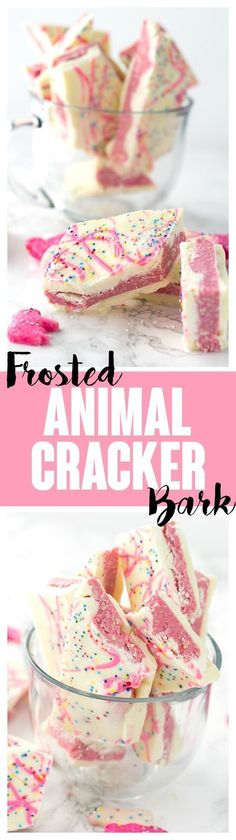 Frosted Animal Cracker Bark - A white chocolate shell with a cream cheese frosted animal cracker filling sandwiched between it. Finish the bark with a pink chocolate drizzle and colorful sprinkles. This fun bark is the perfect dessert to give as a gift.