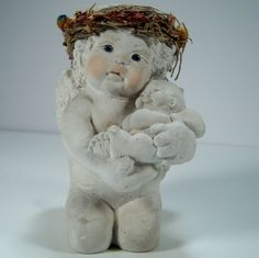Dreamsicle Cherub Angel Holding Baby Cherub Angel Signed by Kristin 1994 #Dreamsicle