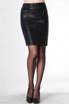 PLUS SIZE High Waist Zip Faux Leather Slim Pencil Skirt TE111 plus1-10x(SZ16-52)