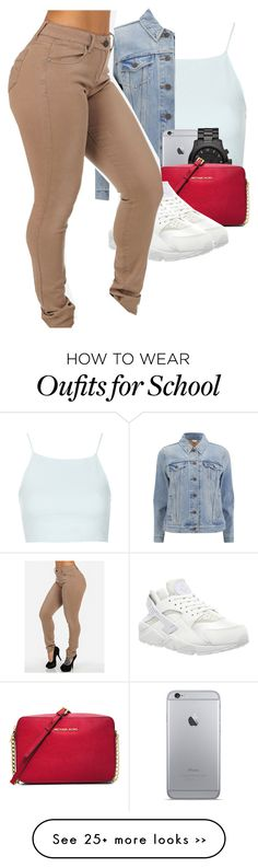 """""""School flow"""" by ajdabaddest on Polyvore featuring Topshop, Levi's, Michael Kors, MICHAEL Michael Kors and NIKE"""