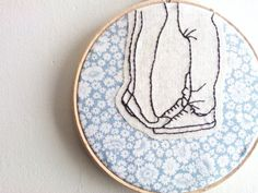 Embroidery Hoop Wall Art  Young Love illustration by kitsnbits