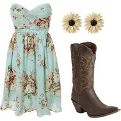 cute outfit... I don't really do cowboy boots, but I think it's a cute outfit.     I really like the dress. I kinda wish it had straps though