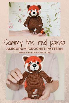 Cuddle-sized Red Panda crochet pattern Crochet animal | Etsy Diy Crochet Animals, Crochet Animal Patterns, Crochet Patterns Amigurumi, Amigurumi Doll, Crochet Gifts, Cute Crochet, Crochet Toys, Handmade Ideas, Etsy Handmade