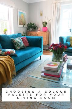 How we chose our colour palette for the living room. We went for teal sofas, grey walls gold accents and lots of plants Teal Grey Living Room, Living Room Decor Colors, Colourful Living Room, Eclectic Living Room, New Living Room, Living Room Designs, Small Living, Living Room Sofa Design, Cozy Living