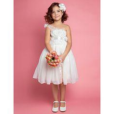 A-line Knee-length One Shoulder Flower Girl Dress – USD $ 49.99