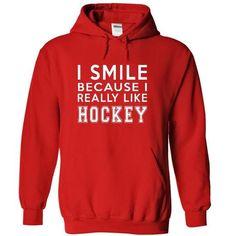 I Smile Because I Really Like Hockey Hoodie Thanhd - #sweatshirt zipper #sweater pillow. CHEAP PRICE => https://www.sunfrog.com/Sports/I-Smile-Because-I-Really-Like-Hockey-Hoodie-Thanhd-6534-Red-byer-Hoodie.html?68278