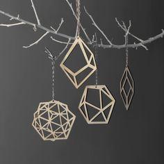 Laser cut geometric Christmas tree decorations