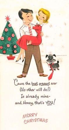 Awww looks like me & Brian Christmas Couple, Christmas Scenes, Christmas Past, Merry Little Christmas, Christmas Greetings, Christmas Holidays, Vintage Christmas Images, Retro Christmas, Vintage Holiday