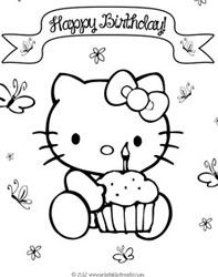 free hello kitty birthday coloring pages