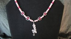 Pink and Silver Beaded Heart Necklace  Item by PirateKatsBooty, $25.00