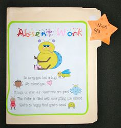 Classroom Freebies: Absent Work File Folder - color code by period and write name in dry erase? Classroom Freebies, Classroom Behavior, Future Classroom, School Classroom, Classroom Ideas, Classroom Activities, Too Cool For School, School Fun, School Ideas