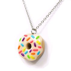 ploymer clay chams cupcakes and donuts | Each pendant hangs from a 20″ long stainless steel chain. They are ...
