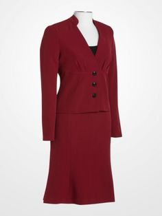 Signature by Larry Levine Wine Suit #red #burgundy #wine #jacket #skirt #fall #winter #womens #jeweltone #fashion