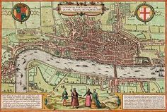 London, 1572. Thought to be the first printed map of London (by Georg Braun and Franz Hogenberg), this view of the city shows the dense and compact urban complex that developed north of the river, rather than on the marshy south bank. London Bridge was the only river crossing at the time this map was produced.