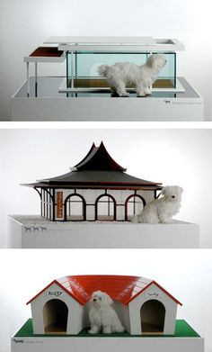 The Transparent Dog House (top) comes complete with its own carport; the Temple Dog House (middle) has three separate entrances; and the Dog House (bottom) was especially designed for dachshunds. These models were also designed by Marco Morosini. Luxury Dog House, Dog House Bed, Expensive Dogs, Dog Milk, Cool Dog Houses, Dog Ages, Pet Beds, Doggie Beds, Pet Home