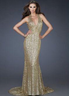 Stunning Gold Sequined Halter V-neck Evening Dress