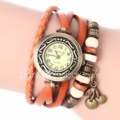 Women's Vintage Style Cherry Pendant Leather Band Quartz Analog Bracelet Watch (Assorted Colors) Cool Watches Unique Watches Fashion Watch Strap Watch 2017 - $9.19